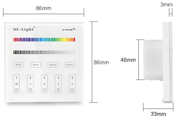 [SCHEMATICS_4US]  MiLight 4-Zone RGB/RGBW Smart Touch Panel Remote Controller For LED Strip  Lights - T3 Series RGB-T3 RGB LED Controllers   T3 Light Fixture Wiring Diagram      Super Color LEDs